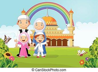 heureux, musulman, ra, famille, dessin animé