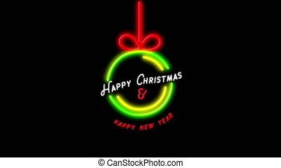 heureux, néon, &, arrière-plan noir, noël, année, nouveau, signe