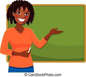 heureux, noir, prof