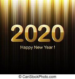 heureux, nouveau, noir, année, carte, doré
