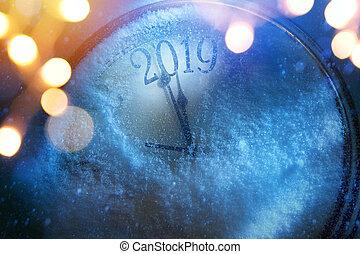 heureux, nouveau, veille, 2019, fond, art, années