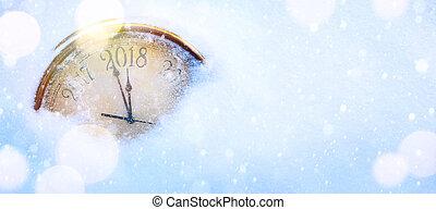 heureux, nouveau, veille, fond, 2018, art, années