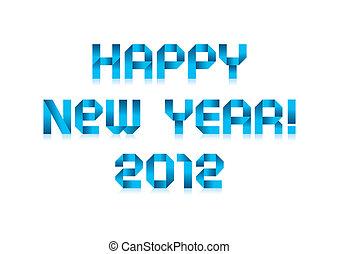 heureux, nouveau, year., papier, bande, police