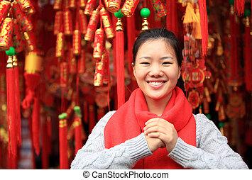 heureux, nouvelle année chinoise