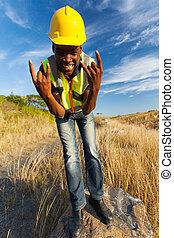 heureux, ouvrier construction, africaine