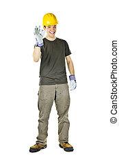 heureux, ouvrier construction