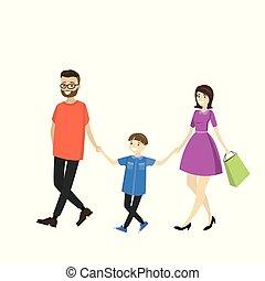 heureux, père, famille, fils, mather, walking-
