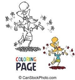 heureux, page, dessin animé, coloration, femme