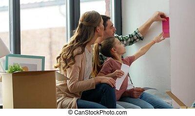 heureux, palette, couleur, nouvelle maison, famille, en mouvement
