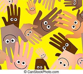 heureux, papier peint, mains