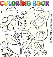 heureux, papillon, topic, coloration, 4, livre