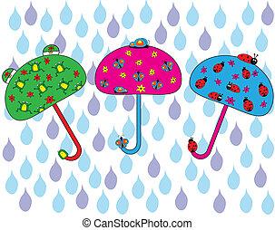 heureux, parapluie, ensemble
