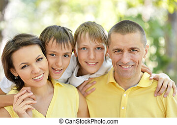 heureux, parc, été, famille