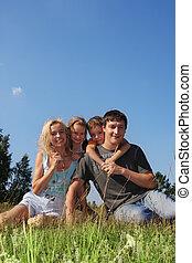 heureux, parc, deux, famille, enfants
