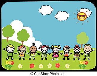 heureux, parc, enfants, tenant main