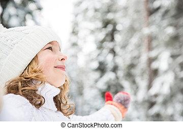 heureux, parc, hiver, enfant