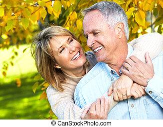heureux, personne agee, couple.