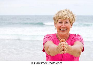 heureux, personnes agées, fitness