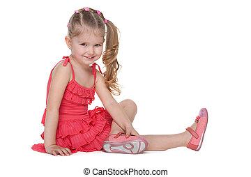 heureux, peu, assied, girl, plancher