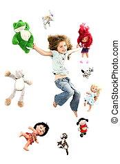 heureux, peu, entouré, girl, jouets
