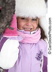 heureux, peu, jouer, girl, neige