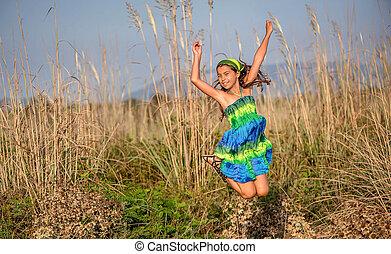 heureux, peu, sauter, girl, air
