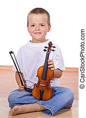 heureux, peu, violonist