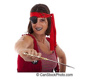 heureux, pirate, girl