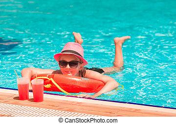 heureux, piscine, girl