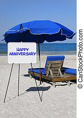 heureux, plage, anniversaire, signe