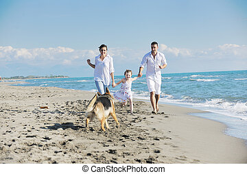 heureux, plage, chien, famille, jouer