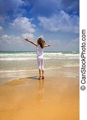 heureux, plage, enfant