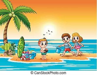 heureux, plage, enfants jouer