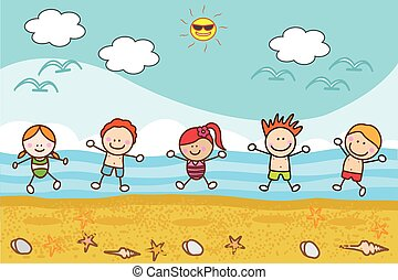 heureux, plage, jouer, enfants