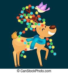 heureux, porter, cornets alimentation cerfs, veille, lumières, oiseau, noël, nouvel an, décorations, incandescent, renne, décore, perles, arbre, scarf., sourire, aimer