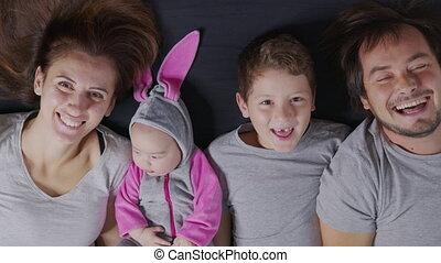 heureux, portrait, family., above., vue