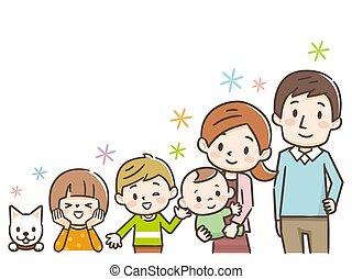heureux, portrait., smile., faire gestes, gai, famille