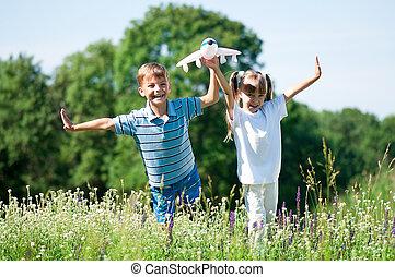 heureux, pré, enfants