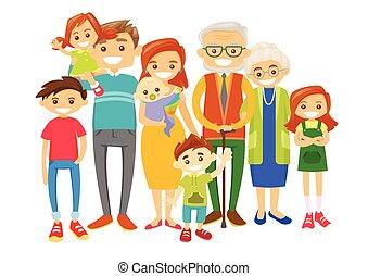 heureux, prolongé, caucasien, sourire, family.