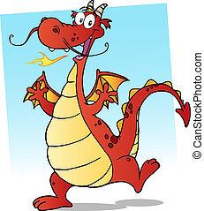 heureux, rouges, dragon, sourire