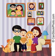heureux, séance, sof, famille, dessin animé