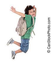 heureux, sac à dos, sauter, enfant