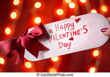 heureux, saint-valentin, carte, contre, arrière-plan rouge