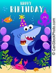 heureux, salutation, carte anniversaire