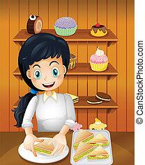 heureux, sandwichs, préparer, mère