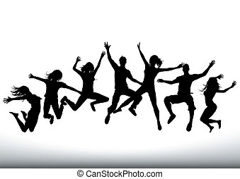 heureux, saut, gens