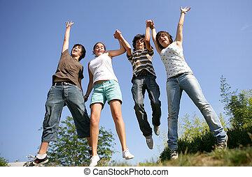 heureux, sauter, ados, air