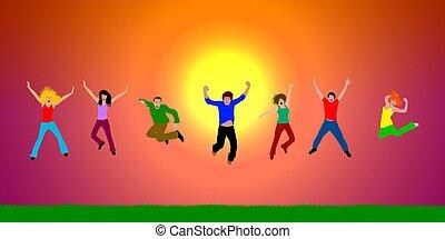 heureux, sauter, coucher soleil, gens arrière-plan