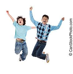 heureux, sauter, enfants, deux