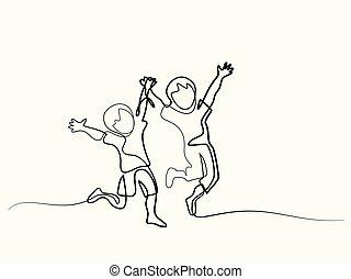 heureux, sauter, enfants tenant mains